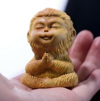 Boxwood Hand Carved Sun Wukong Monkey King Statue Buddha Sculpture Decor