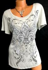 Maurices gray embellished fleur de lis/wings graphic stretch top 2 , 2X