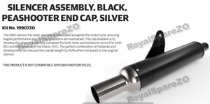 Royal Enfield Black Peashooter End Cap Silver Exhaust For Classic 350/500