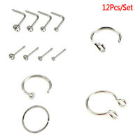 12Pcs Crystal Surgical Steel Screw Nose Studs Ring Hoop Body Piercing Jewelry US