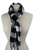 Plaid Pattern Scarf with Ultra Soft Feel for Men and Women (Black/White)