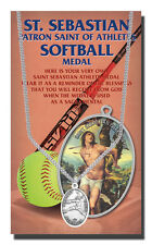 St. Sebastian Softball Medal Necklace plus two free prayer cards