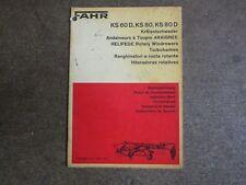 Deutz Fahr KHD KS60 KS80 KS 60 80 D Hay Tedder windrower owners manual