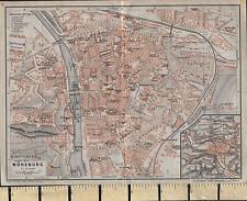 1925 GERMAN MAP ~ WURZBURG ~ ENVIRONS CITY PLAN SHOWING PUBLIC BUILDINGS CHURCH