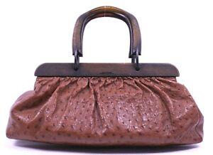 GUCCI by TOM FORD Cinnamon Brown Ostrich Skin Wood Handle Satchel Bag