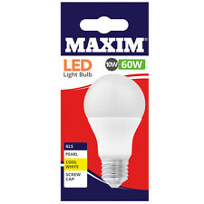 1, 2, 4, 6 or 10 Maxim LED Cool White GLS Screw ES Pearl Light Bulbs 10w=60w NEW