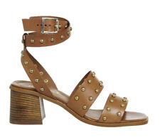 OFFICE Fan Girl Block Heel Studded Sandal Tan Leather UK 4 EU 37 Js53 66