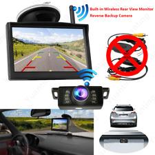 "5"" LCD Car Rear View Monitor Backup Camera Built-in Wireless Kit For Reversing"