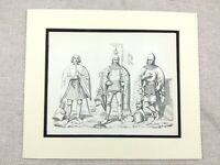 Militare Stampa Medievale Tedesco Nobility Cavaliere Costume Casco Protezione