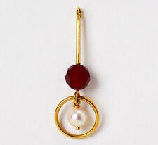 Origineller Anhänger 18 Karat 750 Gold Gelbgold Karneol Perle 2,44 g L.4,30 cm