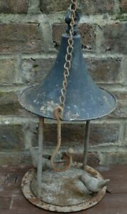 VINTAGE CAST METAL SHABBY HANGING BIRD PERCH FEEDER CANOPY HOUSE STYLE