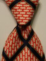 ANGELO ROMA Vintage Men's Silk Necktie ITALY Luxury Geometric Red/Blue EUC Rare
