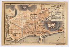1913 ORIGINAL ANTIQUE CITY MAP OF ALICANTE ALACANT / SPAIN