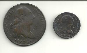 1776 8 Maravedis and 1776 2 Maravedis of Carlos III of Spain