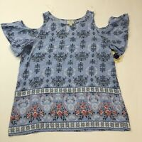 NWT St. Johns Bay Cold Shoulder Top Women's Size Small Cornflower Blue Floral