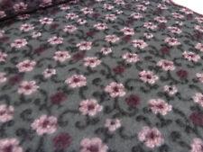 Stoff Ital. Musterwalk Walkloden Kochwolle Relief Blumen grau rosa bordeaux sw