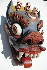 Nepalese Hand carved. Art Bhairab Hindu Protect Deity Wood Mask From Nepal