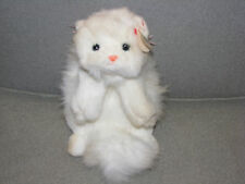 "Ty Classic Cat White Persian Kitty Cat Angel 1997 China Pink Ribbon Bow 12"" Bean"