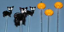 Set 6 Glass Halloween Beverage Stirs (3 cats & 3 pumpkins) New