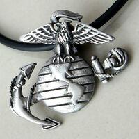 USMC US Marines United States Marine Corps Military LOGO silver pewter pendant