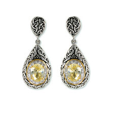 Antique 2 Tone Weave Design Tear Drop Yellow Canary & Clear CZ Dangle Earrings