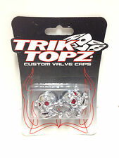SKULL & CROSS PIRATE BONES BIKE BICYCLE VALVE CAPS PAIR