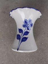 Williamsburg Pottery Vase with Cobalt Blue Flower