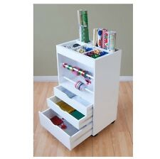 NEW Gift Wrapping Cart Craft Scrapbook Storage Organizer Station Rolling Cabinet