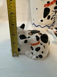 Dalmatian Bathroom Trash can Tooth Brush Holder Soap Dish Cup USED Ceramic