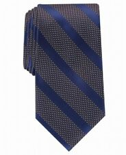 Perry Ellis Men's Neck Tie Navy Blue Brookford Striped Skinny Slim Silk $55 #742