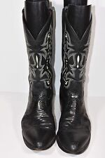 TONY LAMA MENS 12 D FELTON BLACK EXOTIC LIZARD ROUND TOE WESTERN LEATHER BOOTS