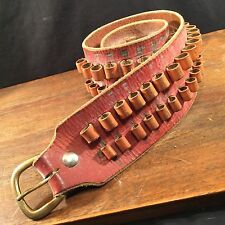Vintage Ammo Belt Leather WNW Hand Tooled Gun Bullet Brass Buckle PRIORITY MAIL