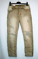Damen Röhren Stretch Jeans khaki MONDAY PEMIUM destroyed Strass 44 + 46 + 48