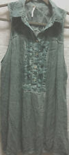 Free People Womens Tunic Top Size M Teal Green Gauze Acid Wash Stretch Casual