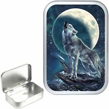 Silver Hinged Wolf Night 1oz Tobacco Tin, 50ml Stash Can,Pocket Tin,Pill Box,Dog