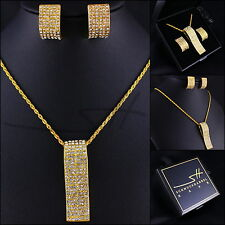 Edel-Schmuckset: Halskette+Ohrringe *Schwung* Gold pl, Swarovski Elements, +Etui