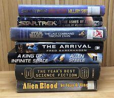 Lot of 8 Science Fiction Hardback Books Sci-Fi Star Trek Star Wars Shatner Zahn