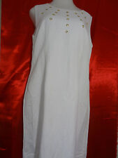 Ashley Stewart White Sleeveless Shift Church Dress Linen Front Studs Size 12.