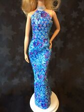 Barbie Fashion Pack Complete Look #2 Blue Rose Glitter Dress Evening Gown