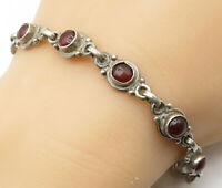 925 Sterling Silver - Vintage Cabochon Cut Red Carnelian Chain Bracelet - B4214