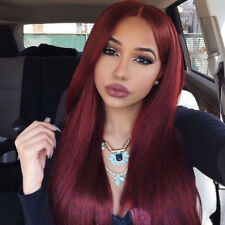 Synthetic Long Straight Natural Hair Ombre Red Wig Middle Part Wig for Women