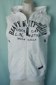 CoolCat Junior Unisex White Cotton Sleeveless Hoodie Vest, size 146-152, 10-12