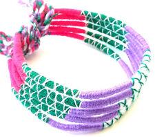 Lot 5 Bracelets Bresiliens de l'Amitié Macramé coton Friendship violet rose vert