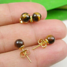 Tiger Eye Gemstone 6mm Round Ball Stud Earrings - Gold Plated