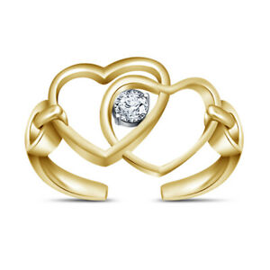 Diamond Double Hearts Wave Infinity Toe Beach Jewelry Ring 14k Yellow Gold Fn