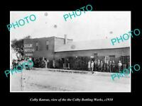 OLD LARGE HISTORIC PHOTO OF COLBY KANSAS, THE COLBY BOTTLING WORKS c1910