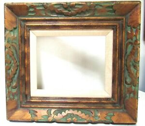 VINTAGE HAND CARVED GILDED / GREEN WOOD FRAME FOR PAINTING 10 X 8  INCH  (d-42)