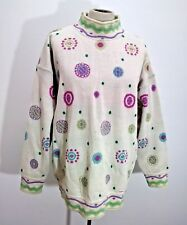 Eisbar Womens Ski Sweater New Wool Knit Mock Neck Polka Dot Funky Sz L Retro