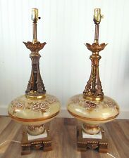 "Pair of Vintage Hand painted Glass table lamps 30"" tall Hollywood Regency"