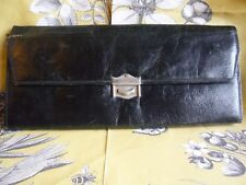 Vintage black leather glove handkerchief case 2 hobnail cut glass scent bottles
